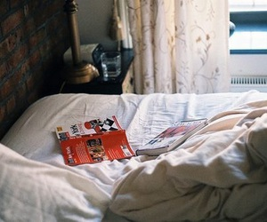 vintage, book, and bed image