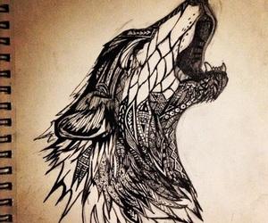 art, wolf, and animal image