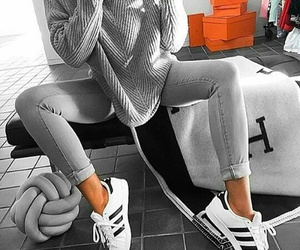 fashion, adidas, and grey image