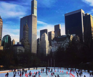blue, Central Park, and ice skating image