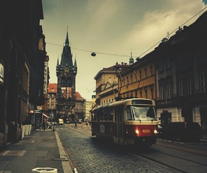 city, tower, and tram image