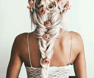 flowers, hairstyle, and white image