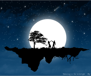 moon, couple, and night image