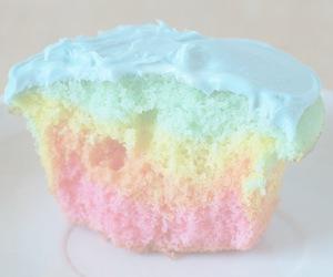 cupcake, rainbow, and pastel image