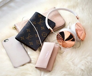 iphone, headphones, and Louis Vuitton image