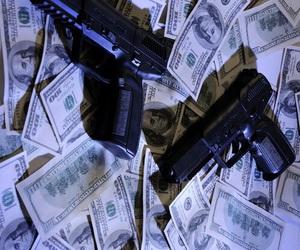 gun, money, and dollar image