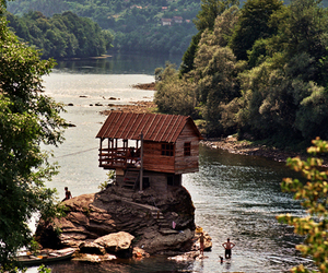 house, nature, and river image