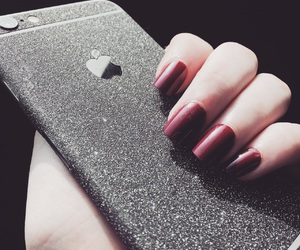 fake nails, glitter, and iphone image