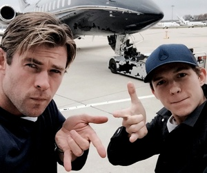 tom holland, chris hemsworth, and thor image