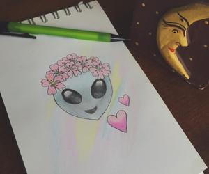 drawing, alien, and emoji image