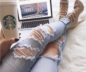 starbucks, shoes, and style image