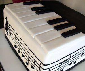 cake, piano, and music image