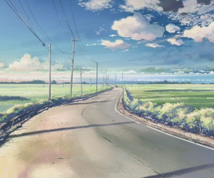anime, sky, and road image