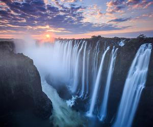 sunset, waterfall, and Victoria Falls image
