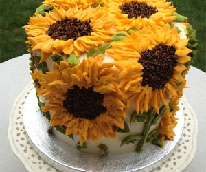 cake, sunflower, and flowers image
