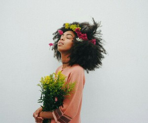 black hair, hair, and flowers image