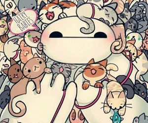 baymax, cat, and wallpaper image