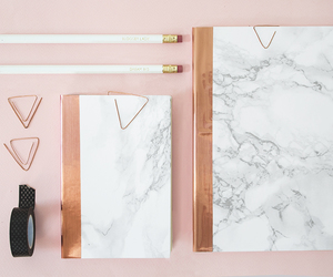 marble, stationery, and rose gold image