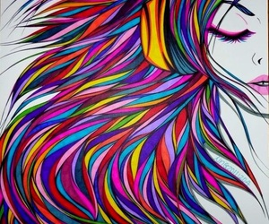 art and rainbow hair image