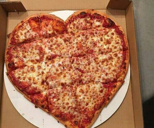 food, heart, and pizza image