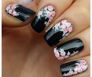 nails, black, and flowers image