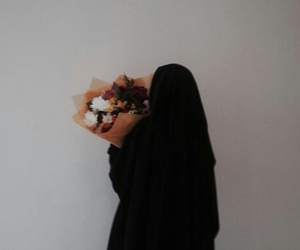 flowers, hijab, and islam image