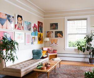 art, interior design, and living room image