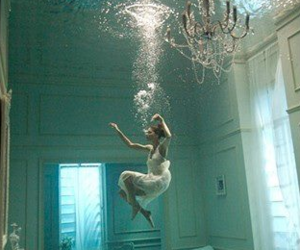 drown, sea, and water image