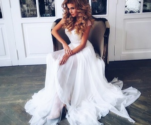 dress, white, and hair image