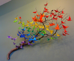 origami, rainbow, and tree image