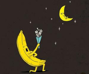 love, banana, and moon image