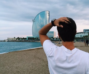 Barcelona, beach, and boy image