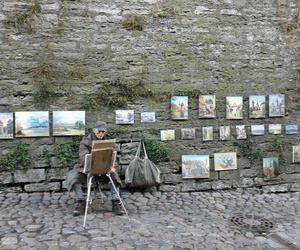 art, brick wall, and old man image