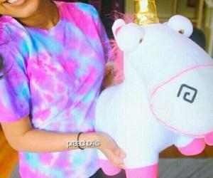 girl, unicorn, and pink image