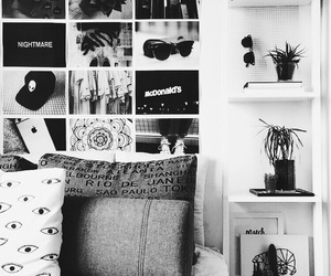 bed, black and white room, and diy room decor image