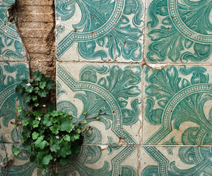 tiles, green, and plants image