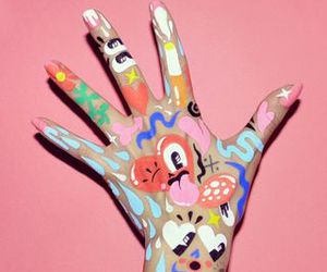 art, hand, and colorful image