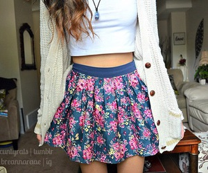 skirt, outfit, and floral image