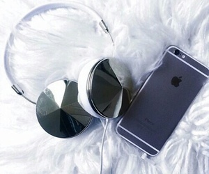 iphone, headphones, and apple image