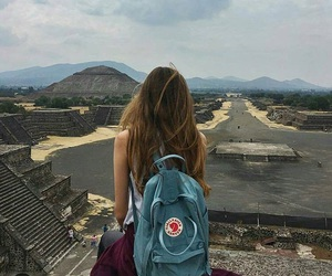 fjallraven kanken, girl, and travel image