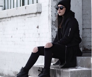 beanie, black, and bomber image
