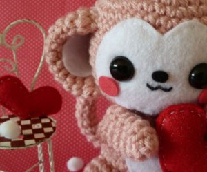 heart, monkey, and red image