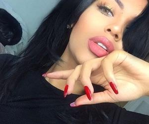 black hairs, fashion, and makeup image