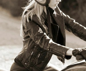 girl, moto, and motorcycle image