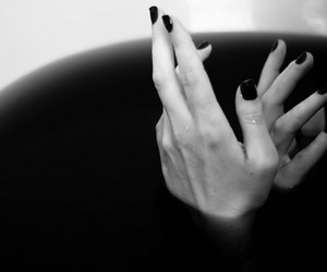 dark, black and white, and hands image