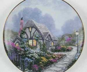 chimney, cottage, and flowers image
