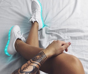 girl, neon, and shoes image