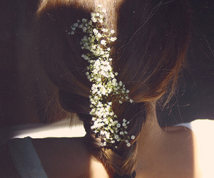 braid, flowers, and hair image