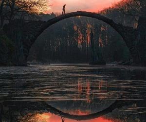 bridge, nature, and sunset image