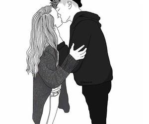 outline, art, and kiss image